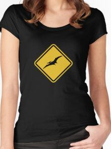 Beware of Pterodactyls Road Sign  Women's Fitted Scoop T-Shirt