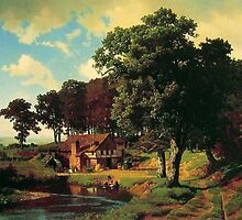 Bierstadt Albert A Rusty Mill.  American great artist fine landscape oil painting. by naturematters