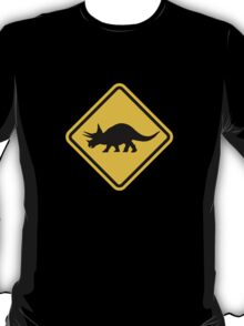 Beware of Triceratops Road Sign T-Shirt