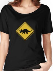 Beware of Triceratops Road Sign Women's Relaxed Fit T-Shirt