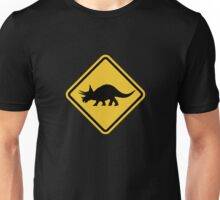 Beware of Triceratops Road Sign Unisex T-Shirt