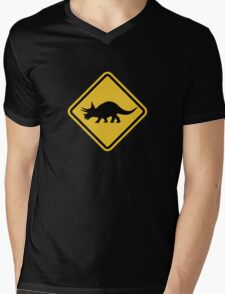Beware of Triceratops Road Sign Mens V-Neck T-Shirt