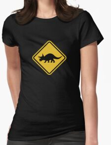 Beware of Triceratops Road Sign Womens Fitted T-Shirt
