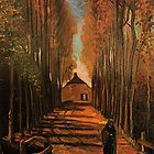 Avenue of Poplars in Autumn,  Vincent van Gogh.  Fine impressionism art.  Landscape  oil paining.   by naturematters