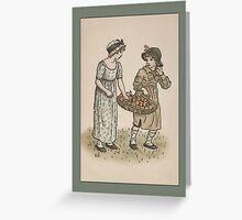 Greetings-Kate Greenaway-Girl/Boy with Apples Greeting Card