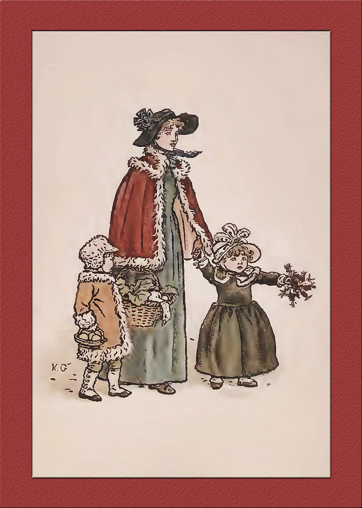 Greetings-Kate Greenaway-Mother with 2 Toddlers by Yesteryears