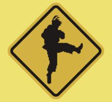 Beware of Ryu Hurricane Kick Road Sign - 8 bit Retro Style Kids Tee