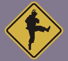 Beware of Ryu Hurricane Kick Road Sign - 8 bit Retro Style Kids Tee