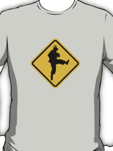 Beware of Ryu Hurricane Kick Road Sign - 8 bit Retro Style T-Shirt