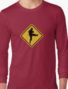 Beware of Ryu Hurricane Kick Road Sign - 8 bit Retro Style Long Sleeve T-Shirt