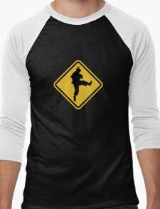 Beware of Ryu Hurricane Kick Road Sign - 8 bit Retro Style Men's Baseball ¾ T-Shirt