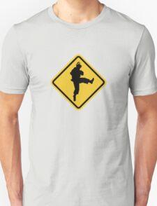 Beware of Ryu Hurricane Kick Road Sign - 8 bit Retro Style Unisex T-Shirt