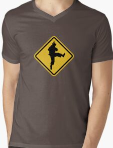 Beware of Ryu Hurricane Kick Road Sign - 8 bit Retro Style Mens V-Neck T-Shirt