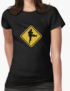 Beware of Ryu Hurricane Kick Road Sign - 8 bit Retro Style Womens Fitted T-Shirt