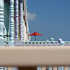 Parasol,Sunshine and Beach Huts by Peter Barnes