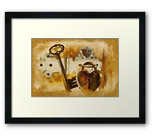 Heart Shaped Lock With Key Framed Print