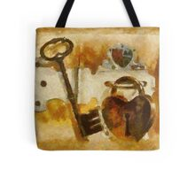 Heart Shaped Lock With Key Tote Bag