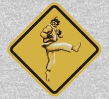 Beware of Ryu Hurricane Kick Road Sign - Second Version Kids Clothes