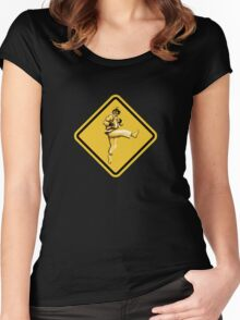 Beware of Ryu Hurricane Kick Road Sign - Second Version Women's Fitted Scoop T-Shirt