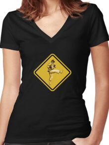 Beware of Ryu Hurricane Kick Road Sign - Second Version Women's Fitted V-Neck T-Shirt