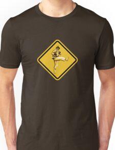 Beware of Ryu Hurricane Kick Road Sign - Second Version Unisex T-Shirt