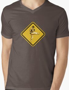 Beware of Ryu Hurricane Kick Road Sign - Second Version Mens V-Neck T-Shirt
