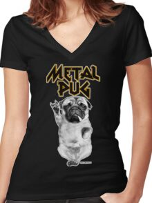 metal pug Women's Fitted V-Neck T-Shirt