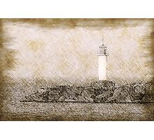 White lighthouse sketch Photographic Print