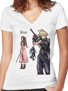Dissidia 012 Reports Final Fantasy Characters Women's Fitted V-Neck T-Shirt