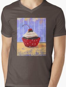 Red Cherry Cupcake Mens V-Neck T-Shirt