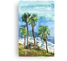 Coconut palms on the cliff Canvas Print
