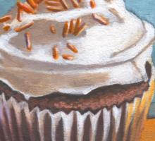 Summertime Yellow Cupcake Sticker