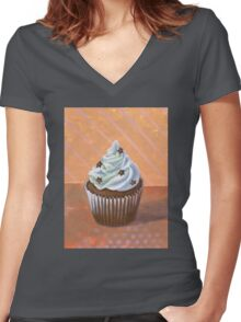 Chocolate Stars Cupcake Women's Fitted V-Neck T-Shirt