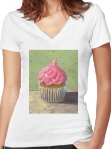 Russian Pink Cupcake Women's Fitted V-Neck T-Shirt