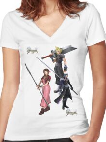 Dissidia 012 Reports Final Fantasy Characters 2 Women's Fitted V-Neck T-Shirt