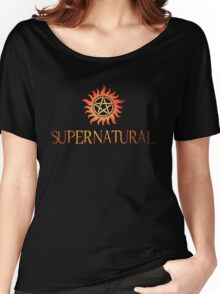 Supernatural logo in RED Women's Relaxed Fit T-Shirt