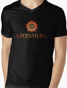 Supernatural logo in RED Mens V-Neck T-Shirt