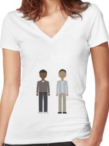 Troy & Abed in the Morning Women's Fitted V-Neck T-Shirt