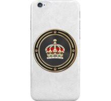 Imperial Tudor Crown over White Leather iPhone Case/Skin