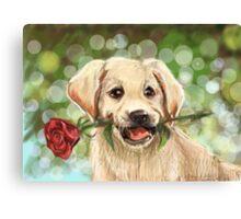 Romantic puppy Canvas Print