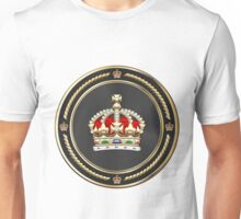 Imperial Tudor Crown over White Leather Unisex T-Shirt