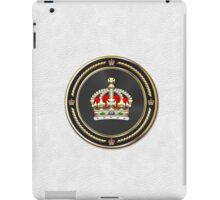 Imperial Tudor Crown over White Leather iPad Case/Skin