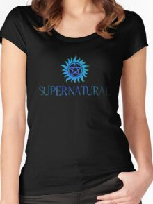 Supernatural logo in BLUE Women's Fitted Scoop T-Shirt