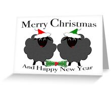 Black Sheep Merry Christmas And Happy New Year Greeting Card