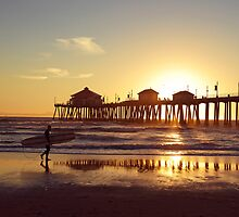 The Huntington Beach Pier at Sunset. by philw