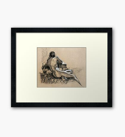 Male Nude, charcoal and pastel drawing Framed Print