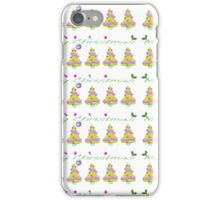 Green yellow pink Christmas tree Merry Christmas  iPhone Case/Skin