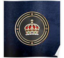 Imperial Tudor Crown over Blue Velvet Poster