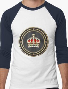Imperial Tudor Crown over Blue Velvet Men's Baseball ¾ T-Shirt