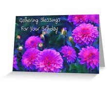 Gathering Blessings For Your Birthday (with text) Greeting Card